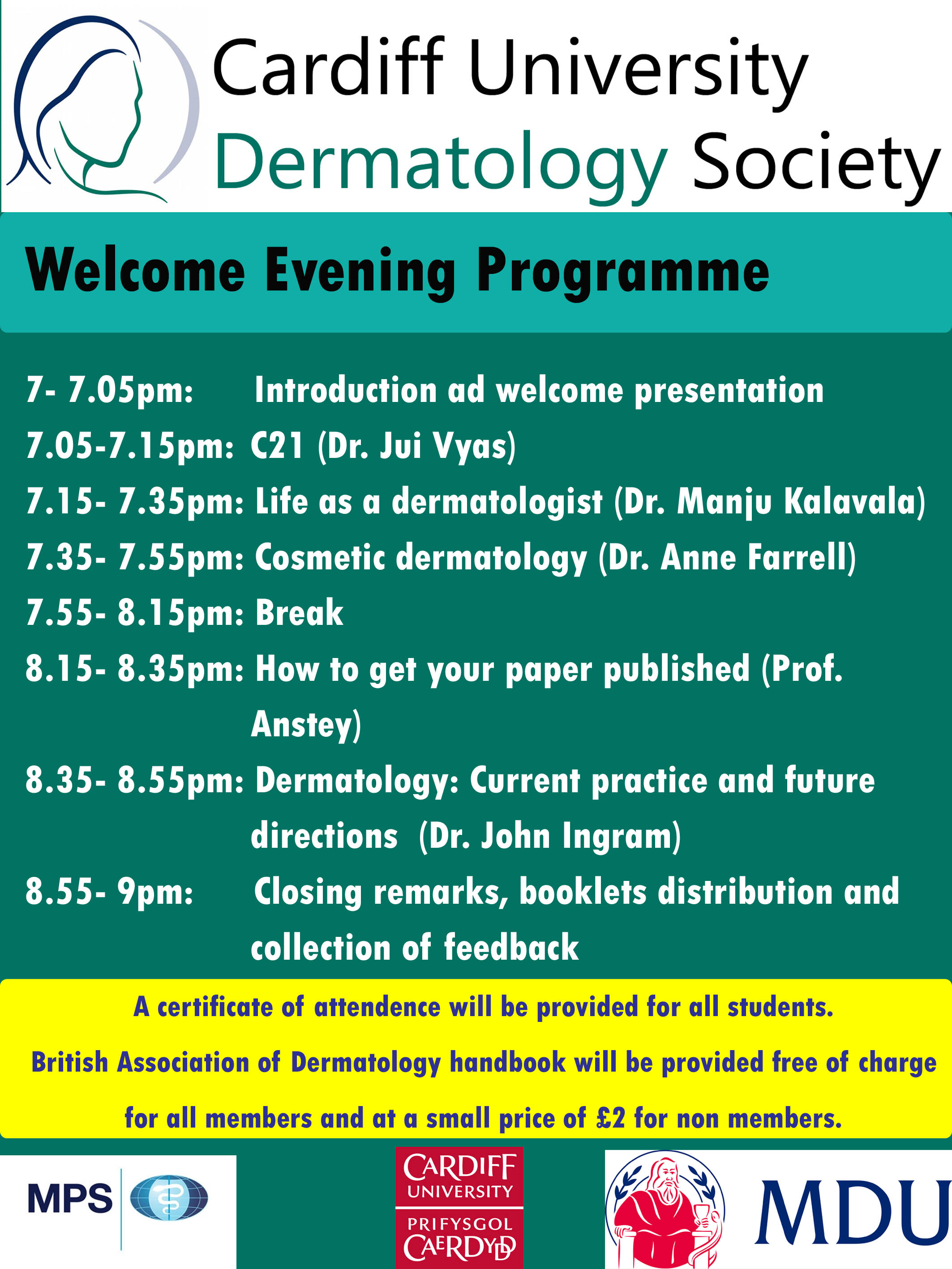 Dermatology Society Welcome Evening